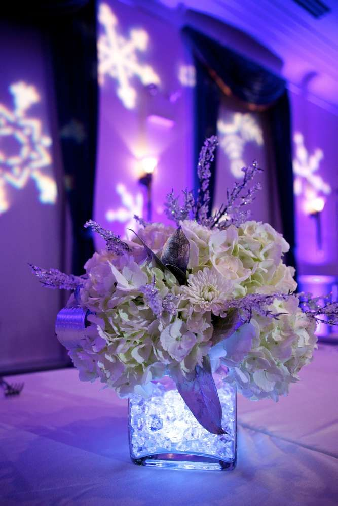 Sweet 16 Winter Wonderland Birthday Party Flower Centerpiece  Ideas | Photo 2 of 44 | Catch My Party