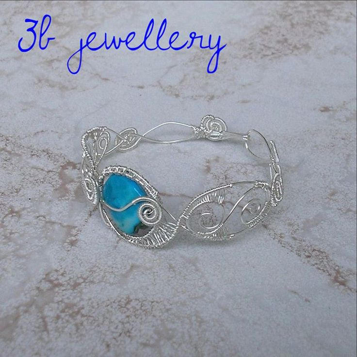 sorry for the long silence! take a look at this wonderful #bracelet that was made on #request and sent to #Canada ! #silver #plated #wire with #turquoise #bead #3bjewellery #wirewrapping #intermediate