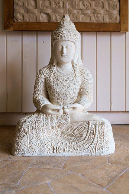 budha szobor fehér 60 cm