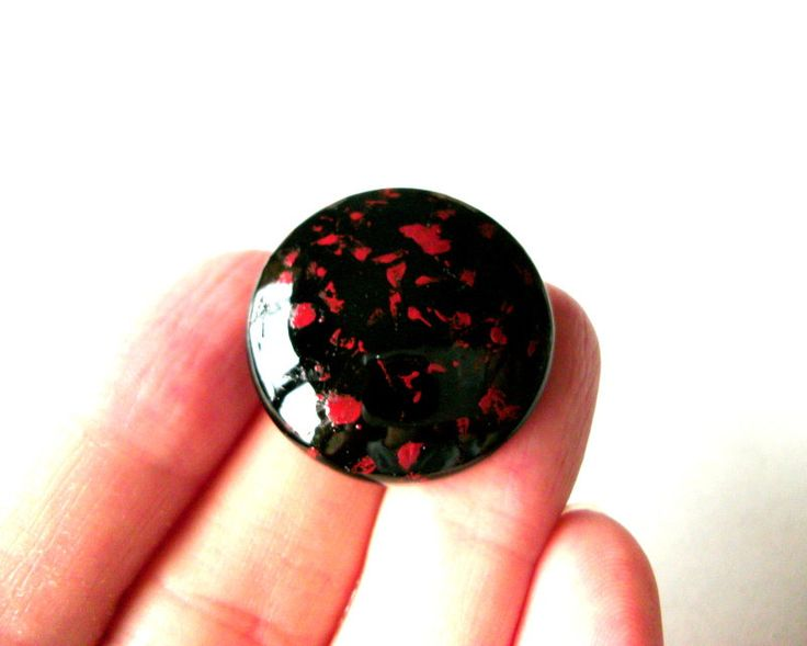 Black Red Japanese Art Brooch Mens Gift Urushi Japanese Lacquer Goth Jewelry Samurai Asian Anniversary Oriental Art…