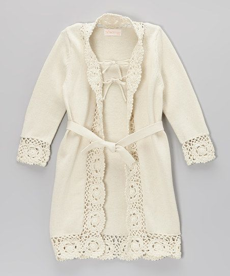 Ivory Crochet-Trim Duster. mmmm.... add some crochet trim to old duster... maybe I can do this