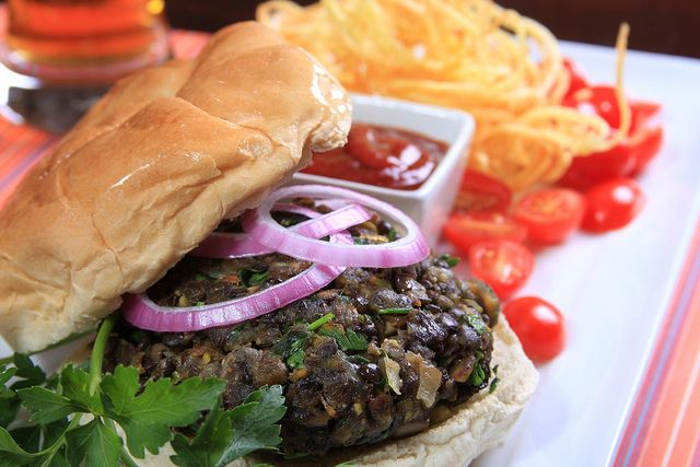 Black Lentil, Pistachio and Shiitake Mushroom Burger