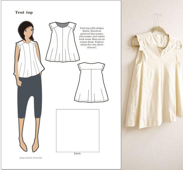 Flared top, a pattern variation - by Novita Estiti (from 'The BurdaStyle Sewing Handbook')