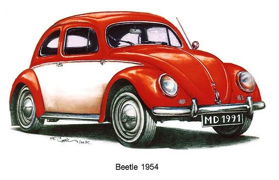 Red 1954 Volkswagon Beetle