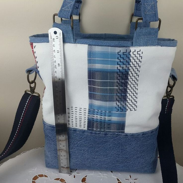 İşlemeli mavi-beyaz kot çanta | Shopier