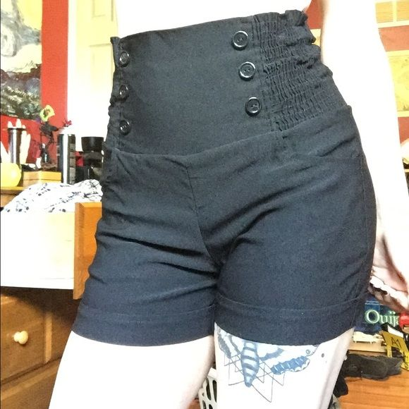Black high waisted shorts Never worn, only tried on. Just too long for my liking. HFH USA Shorts