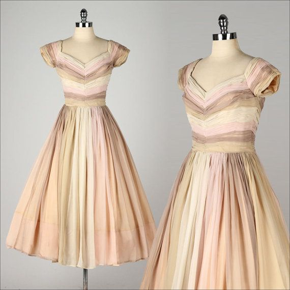 vintage 1950s dress . neopolitan striped by millstreetvintage Women's vintage fall fashion outdoor party outfit