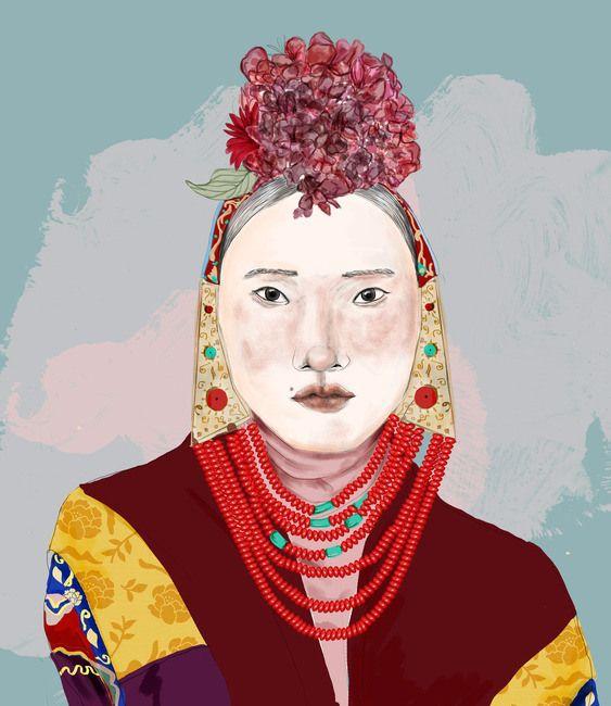 Woman in a flower headpiece