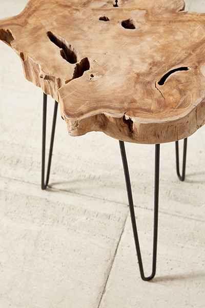 Takara side table - $180 - soooo neat! Teak root + Hairpin legs