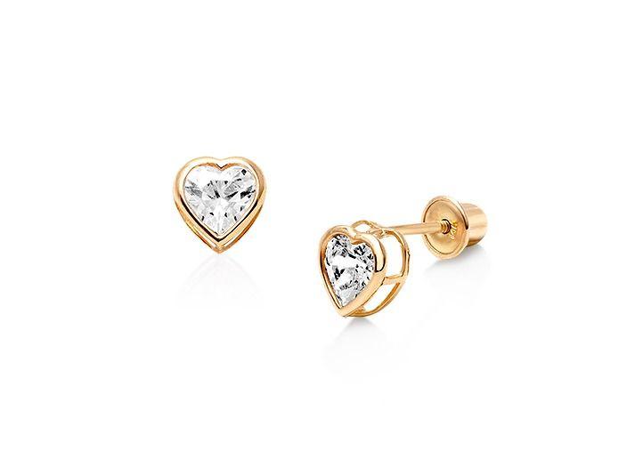 April Birthstone Bezel Set Cz Heart Baby Children S Earrings Back 14k Gold