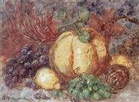 Stilleven met druiven en pompoenen by Sientje Mesdag van Houten