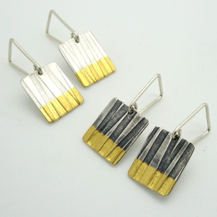 Lined Drops | Contemporary Earrings by contemporary jewellery designer Jessica Briggs