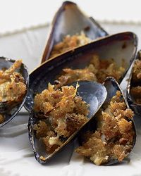 Broiled Mussels with Hot Paprika Crumbs   A sparkling white wine would ...