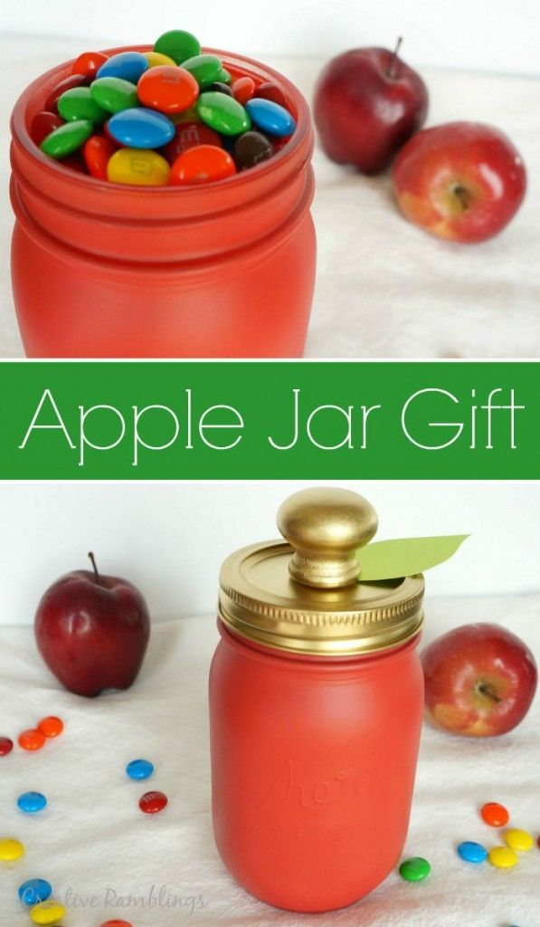 Red apple painted mason jar gift