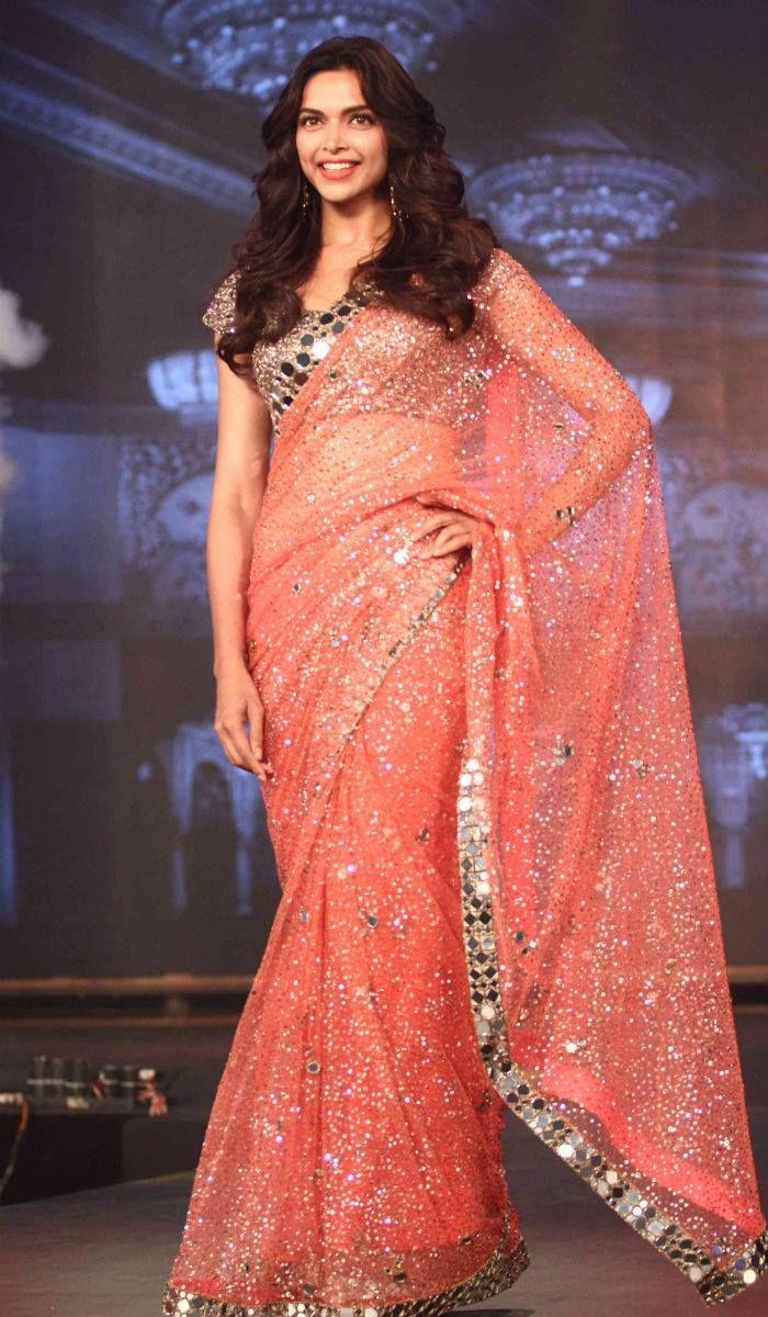 Deepika Padukone In A Peach Mirror Work Embellished Manish Maholtra #Saree.