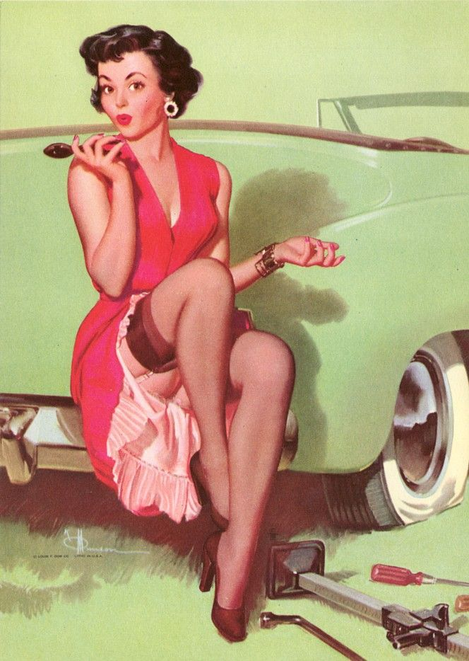 Vintage Pin up Art Girl Car with Flat Tire Brunette