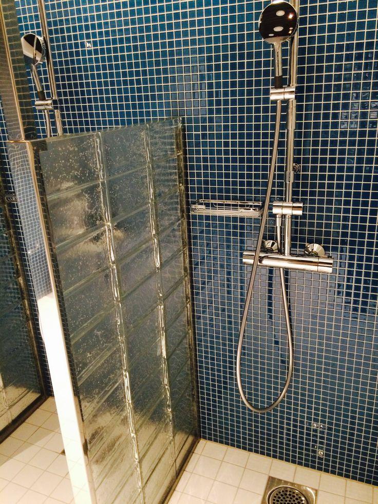 Suihkuhuone. Hieno lasitiiliseinä!