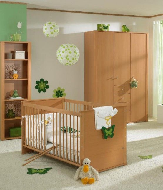 Baby Nursery. Mesmerizing Baby Room Design Ideas: Inspiring Wooden Baby Room Set Ideas With Cupboards Globe Lamps And Green Butterfly Embellishment Design ~ wegli