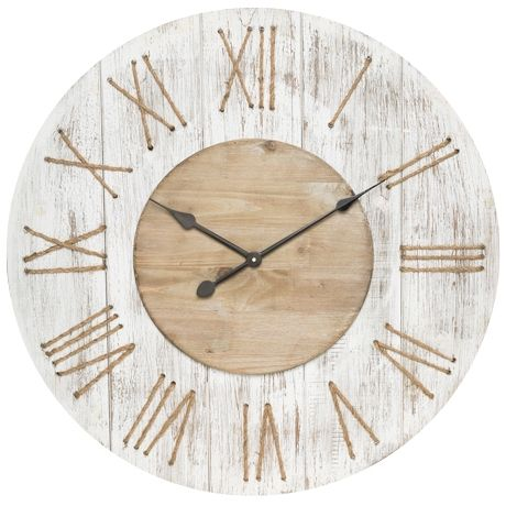 Gibb Clock 75cm  Whitewash