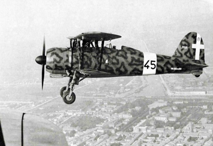 """(""""Falcon"""") biplane in the sky over Ravenna. Fiat Cr.42 A.S. «Falco» (""""Falcon"""") biplane was withdrawn from service in 1942. Prior to that supplied in Belgium. Part of the machine was assigned to Hungary, which used them in the war against Yugoslavia and the USSR. In CR.42bis modification Distributed to the Sweden. From February 1940 to September 1941 the Swedish Air Force received 72 fighter Fiat Cr.42 AS «Falco» (""""Falcon"""") biplane. There he was assigned the designation J11."""