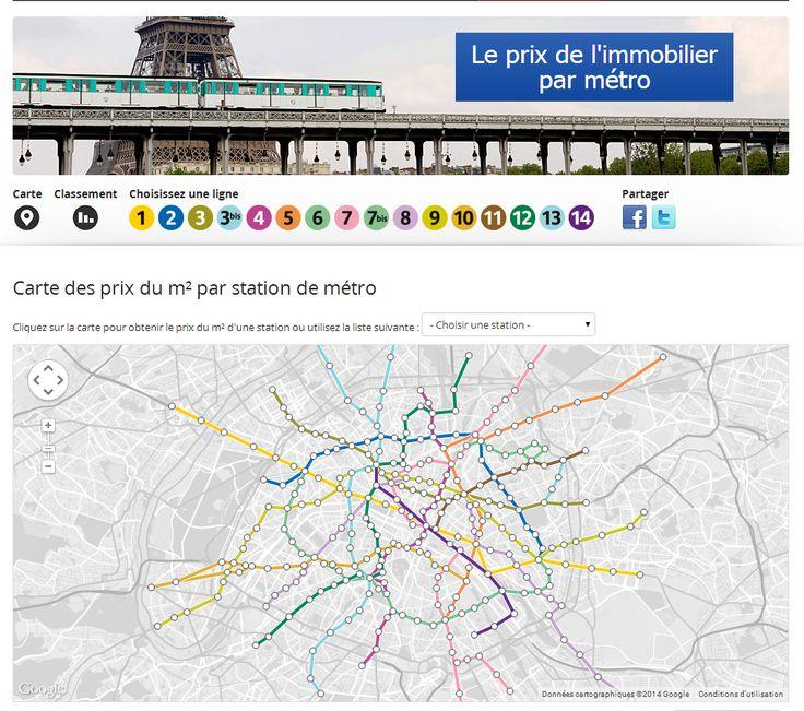 Carte des prix du m² par station de métro