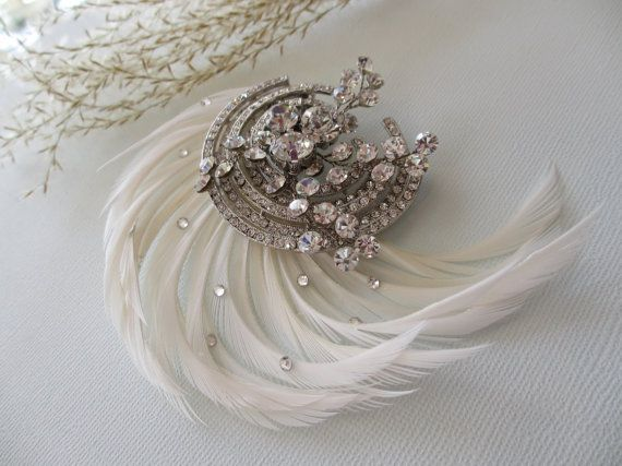 Posh Art Deco Hair Clip - 1920s 1930s Vintage Inspired Bridal Hair Clip, Hair Comb, Bridal & Wedding Hair Fashions NEW 2013 via Etsy