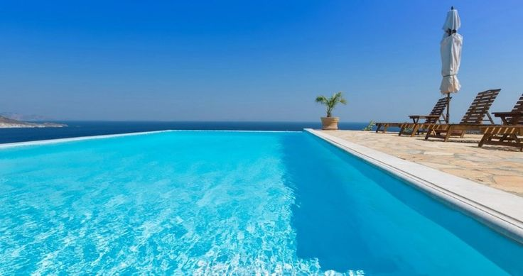 """This is a real invitation for pleasure & chillout ! Check """"Villa Sophias"""" - Patmos, Greece ! You can rent it ! #luxury #villa #rent #holidays #greece #vacances #grece #alouer #aroomwithaview #sea #bedroom #decoration #swimmingpool #beautiful"""