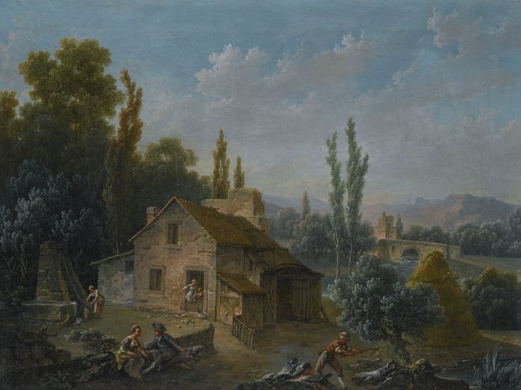 c. 1750s French River Landscape With a Farm, With Figures Drawing Water & Chopping Wood by Nicolas Jacques Julliard sold at Sotheby's