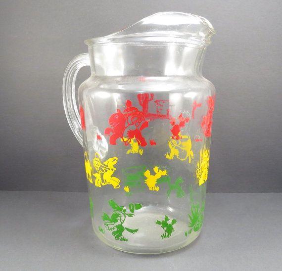 Cowboy Glass Water Pitcher Southwestern Vintage 1950s Ice Tea Pitcher