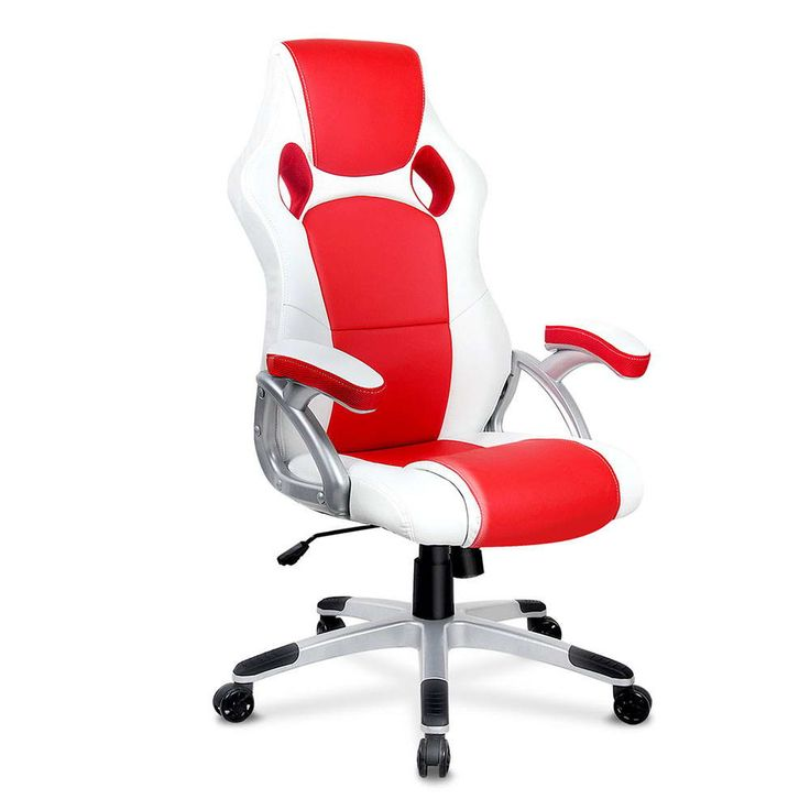 PU Leather Sporty Padded Gas Lift Swivel Armrest Racing Office Chair White Red