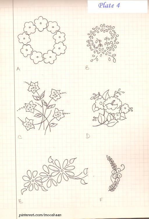 Vintage Floral Motifs. Plate #4 .. I embroidered A : http://pinterest.com/pin/431501208017545572/  and E : http://pinterest.com/pin/431501208017711420/