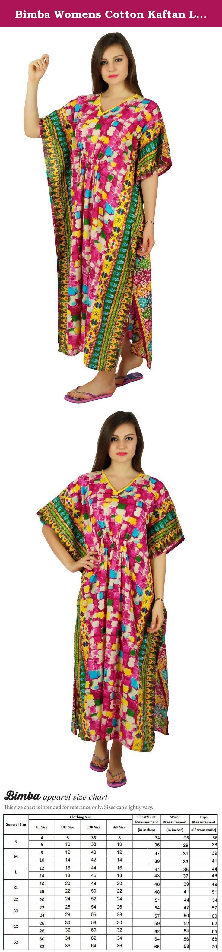 Bimba Womens Cotton Kaftan Long Maxi Printed Caftan Smocked Waist Night Wear. The artisans at Bimba crafted out this extremely splendid long kaftan out of cotton fabric. The Pannel design and kimono sleeves enhances the look of the kaftan. The dress is of full length which maintains your grace and classiness.. This cotton made kaftan comes with a smocked elastic waist from front and back and short kimono sleeves. . Perfect as a Coverup OR Night wear comfort clothing Material: Cotton…
