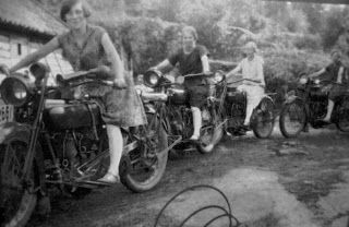 womenwhoride:  Norwegian women on motorcycles. 1930s