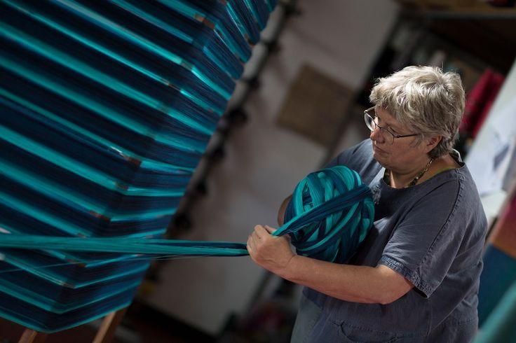 Removing the yarn from our vertical mill | McKernan Woollen Mills | Handmade in Ireland | Irish Design | Weaving | Knitting | Pattern | Textiles | Co. Clare