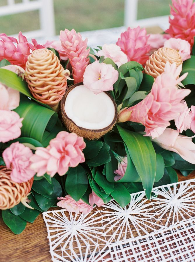 Bright + tropical centerpiece: http://www.stylemepretty.com/2016/04/21/bright-beachy-celebration-in-brazil-part-1-the-wedding/ | Photography: Cassidy Carson - http://www.cassidycarsonphotography.com/#cassidy-carson-photography
