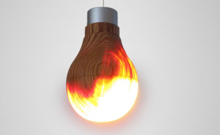 The wooden lightbulb that glows like a blazing fire - and makes you look nervously at your smoke alarm