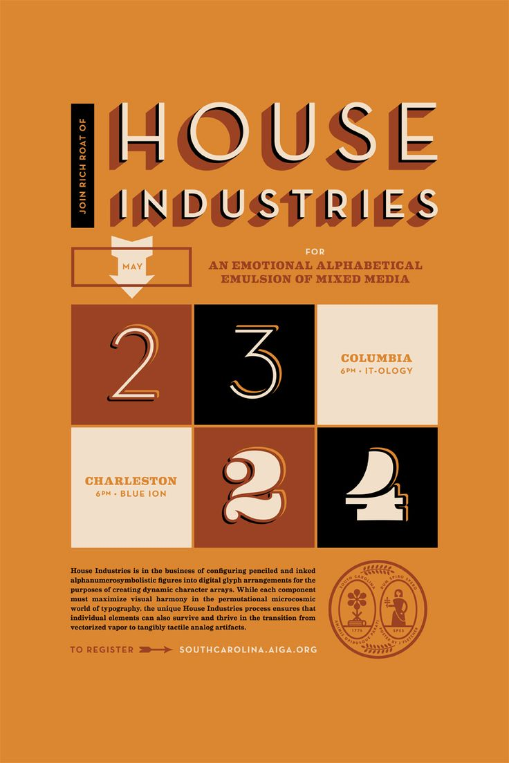 Poster design process - Jay Fletcher Designing Anything That Says House Industries On It Would Be A Thrill So When Aiga South Carolina Tasked Me With Creating A Poster To