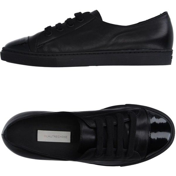 L' Autre Chose Low-tops & Sneakers (1 280 SEK) ❤ liked on Polyvore featuring shoes, sneakers, black, black leather trainers, black leather shoes, animal trainer, black trainers and low top