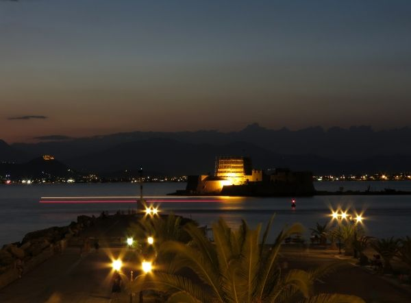 Bourtzi Fortress at night