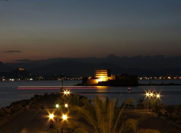 Bourtzi Fortress at night
