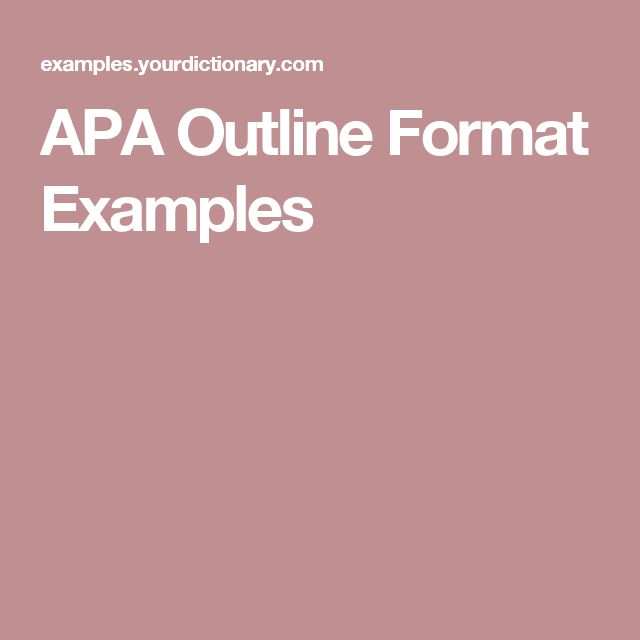 APA Outline Format Examples