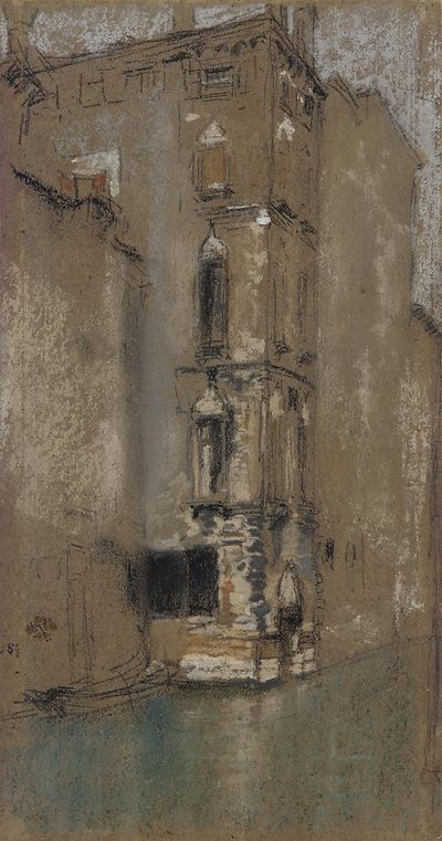 """""""The Marble Palace,"""" James McNeill Whistler, 1880, Chalk and pastel on brown paper, 11.8 x 6.18"""", Freer Gallery of Art."""