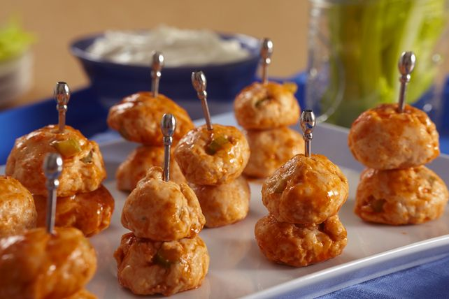 Prep these Buffalo Chicken Meatballs in just 15 minutes. The blue cheese dipping sauce for our Buffalo Chicken Meatballs comes together in a flash, too!