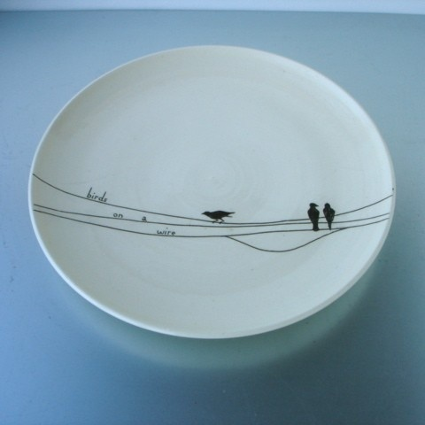 Birds on a wire plate