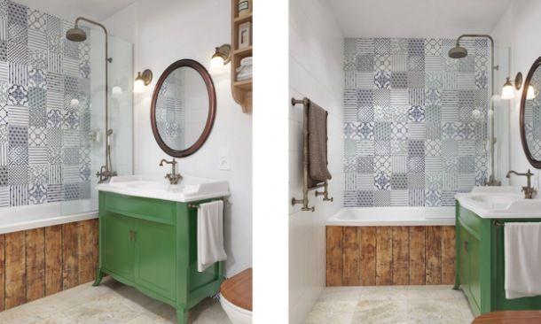 wanna w drewnianej obudowie, marokańskie płytki , francuska zielona komoda z okragłym lustrem