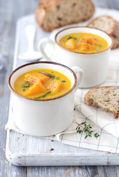 Roasted squash soup with yams and chard