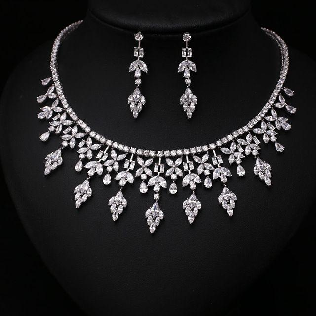 Mode Klar Pfeil Mit Quadratisch CZ Kristall und Perle Schmuck Sets Für Hochzeit Halskette ohrring set JC352089S