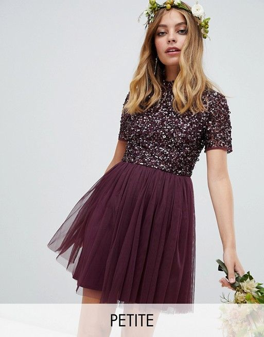 97aed45672d74 Maya Petite high neck mini tulle dress with tonal delicate sequins in berry  | Clothes and shit | Tulle dress, Sequin bridesmaid dresses, Lace  bridesmaid ...