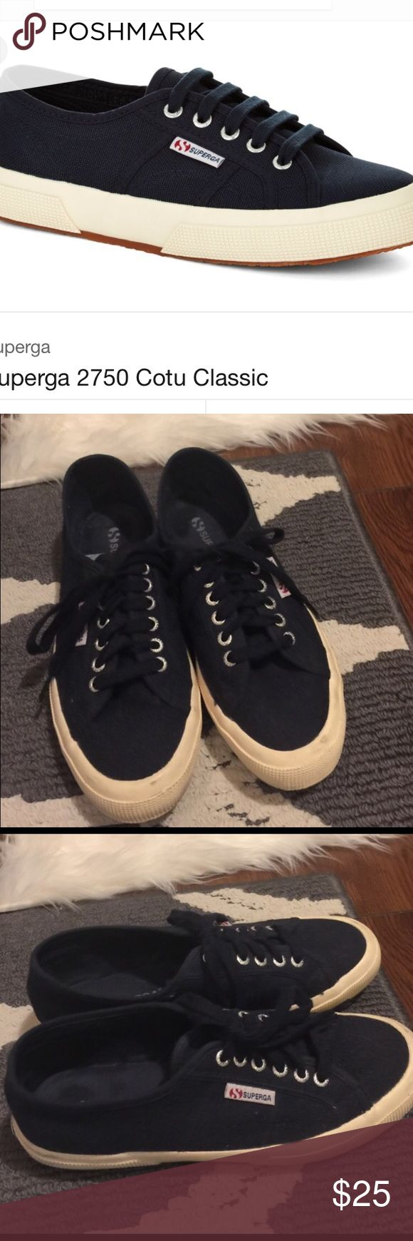 Navy Superga Sneakers Size 9.5 Minor scuff marks on rubber. Navy color with off white rubber. (Shoes purchased this way). Extremely comfy!!! Size 41 in EU Superga Shoes Sneakers