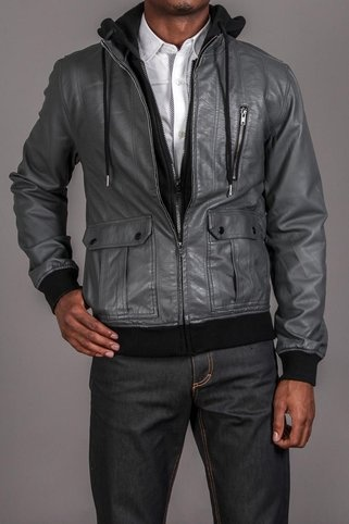 The Narrows Bedford PU Zip Up Hooded Jacket